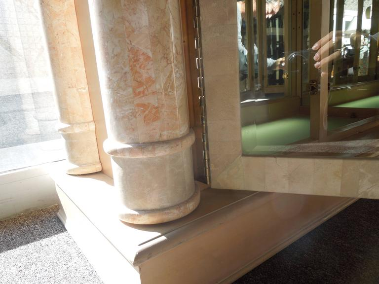 Spectacular Neoclassical Custom Stone and Brass Glass Cabinet by Maitland Smith 9