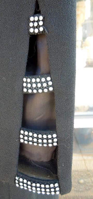 David Hayes for Neiman Marcus Black Crepe Cocktail Dress with Rhinestones In Excellent Condition For Sale In Palm Springs, CA