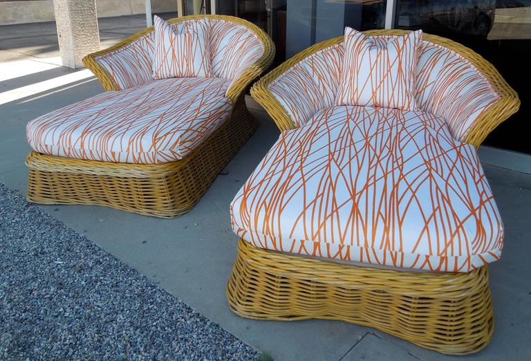 Pair Of Large Steve Chase Palm Springs Style Rattan Chaise