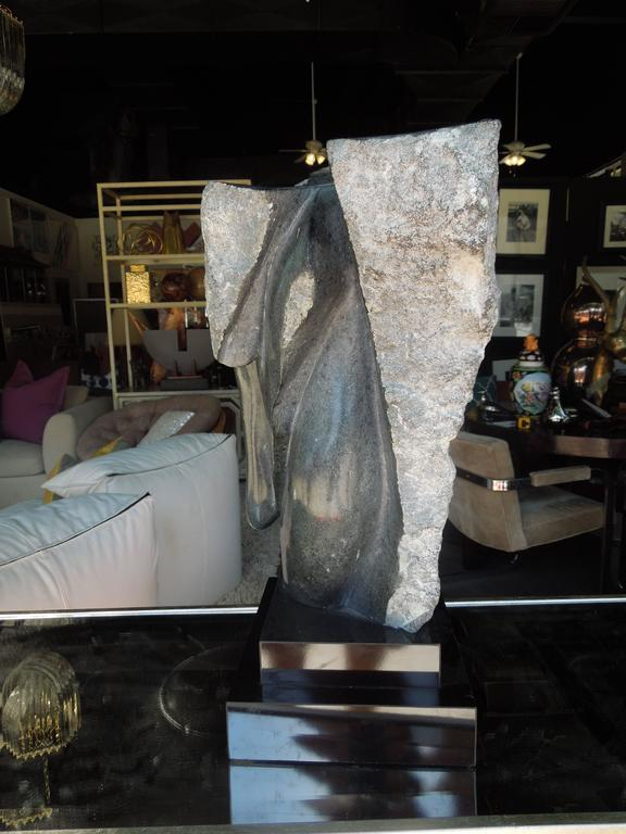 Hand-Carved 20th Century Modern Abstract Marble Sculpture