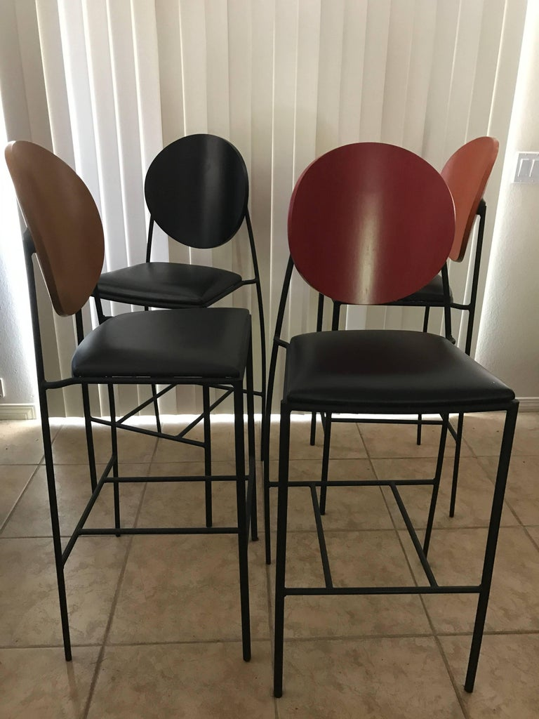 Set Of Four Spectacular Dakota Jackson Modern Custom Vik Tor 2 Barstools For Sale At 1stdibs