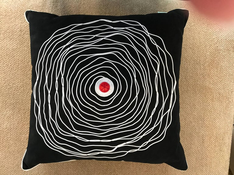 These very high end decorative pillow came from the premiere home store in Palm Springs, CA that closed over a decade ago. They were purchased by my client and never used. Still obtains original tag. Amazing Bindu spiral cording fronts with red