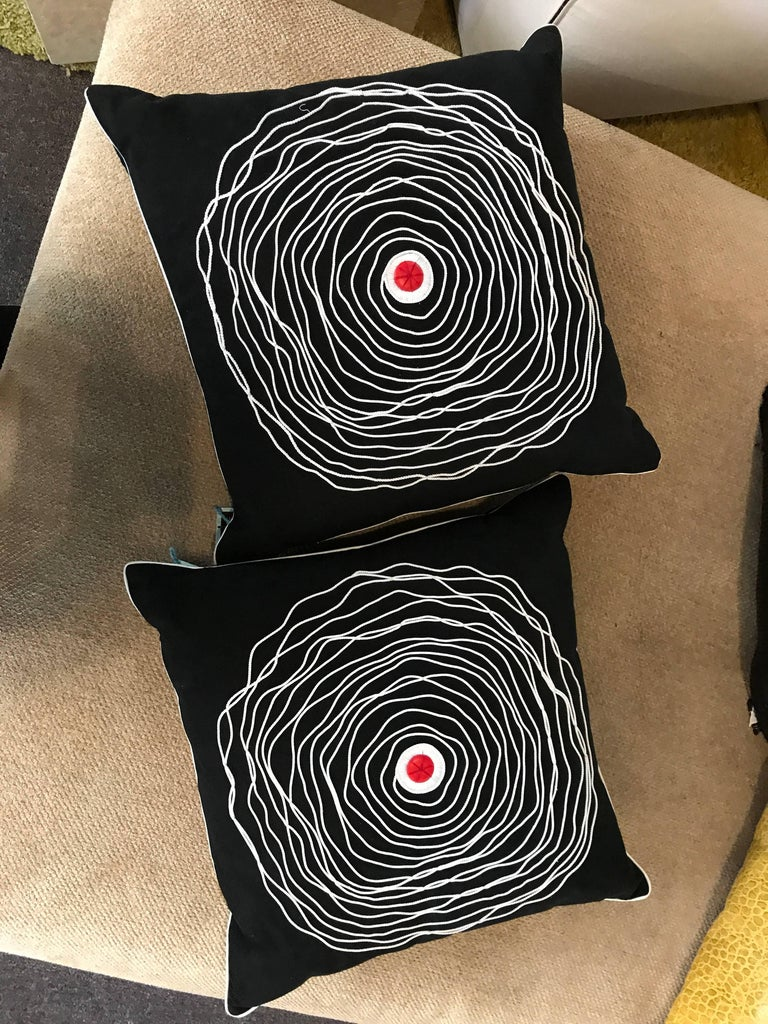 Pair of Black and White Modern Art Decorative Embroidered Cord Pillows For Sale 1