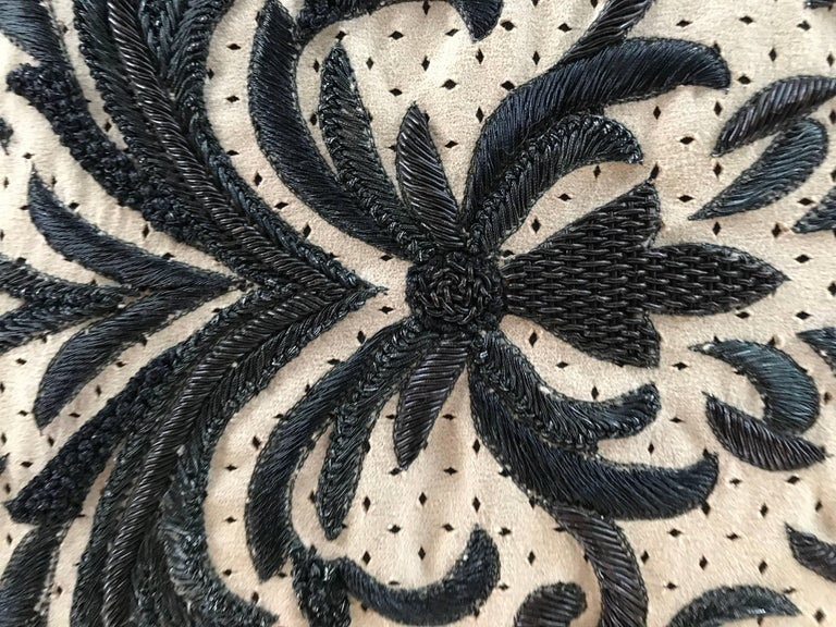 Other Perforated Ultra Suede Sand and Black Embroidered Decorative Pillow For Sale