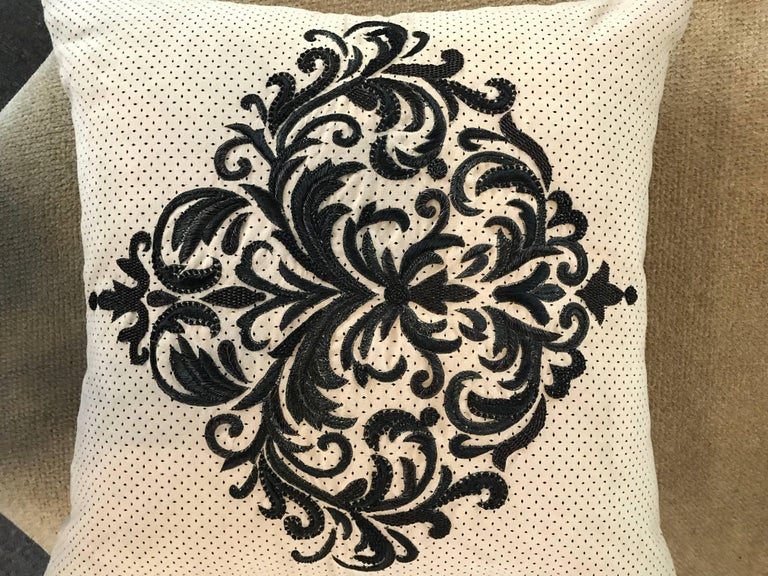 Perforated Ultra Suede Sand and Black Embroidered Decorative Pillow In Excellent Condition For Sale In Palm Springs, CA