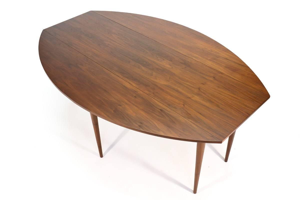 Walnut oval drop leaf dining table at 1stdibs for Circle dining room table with leaf