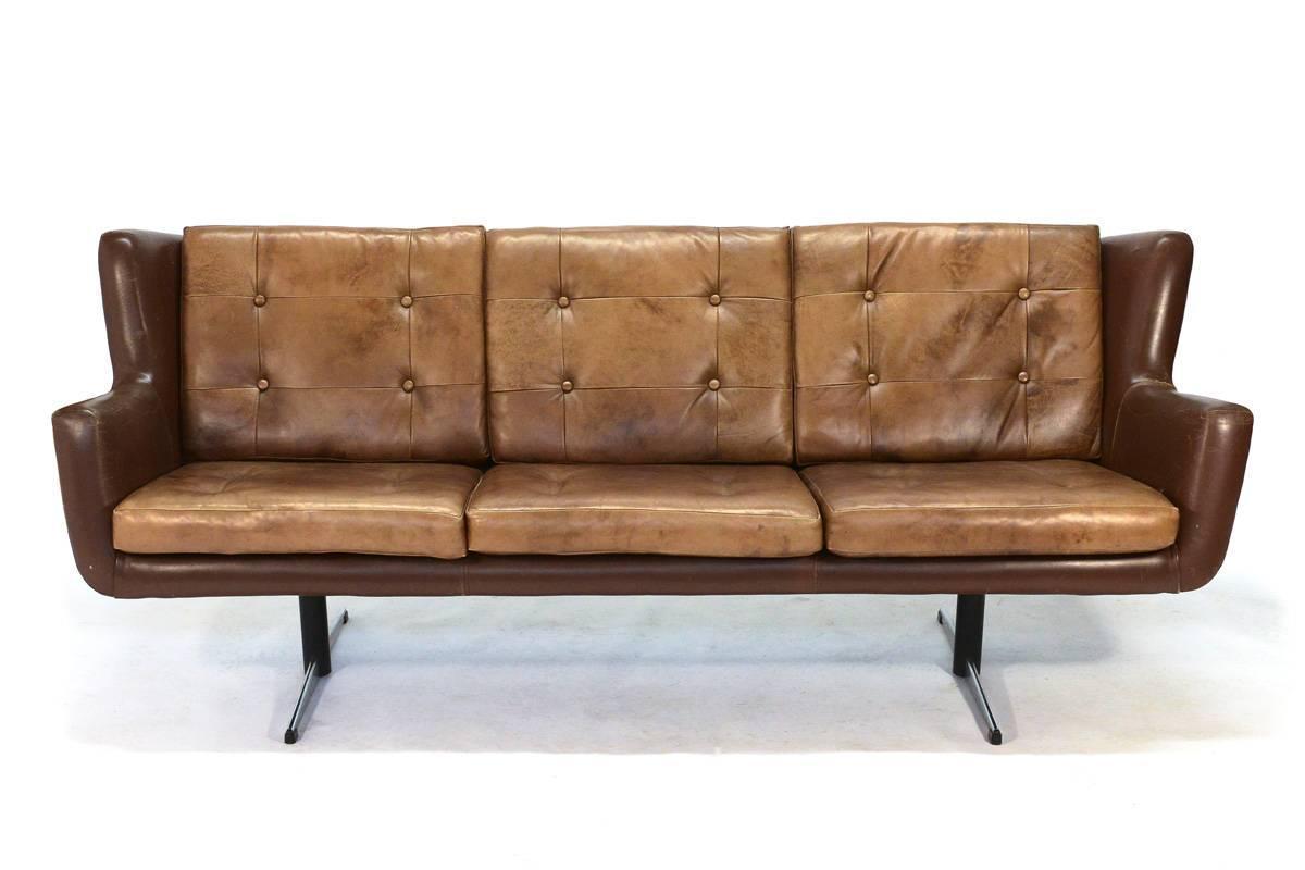 Danish Leather Sofa By Skjold Sorensen At 1stdibs