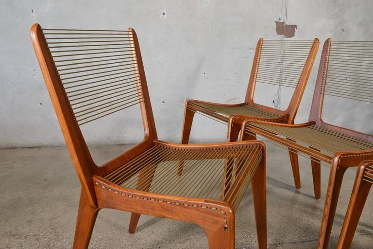 Perfect Set Of Four Jacques Guillon String Chairs 2
