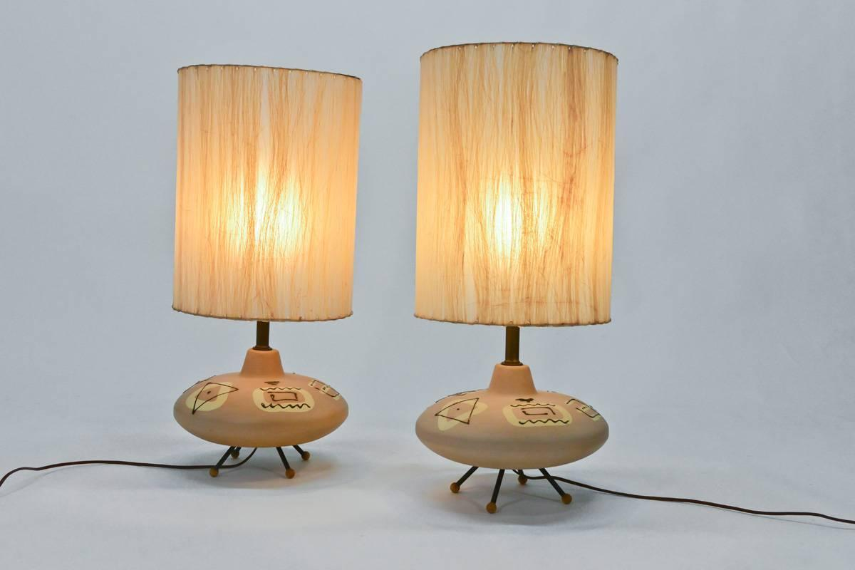 unique pair of 1950s ceramic table lamps for sale at 1stdibs