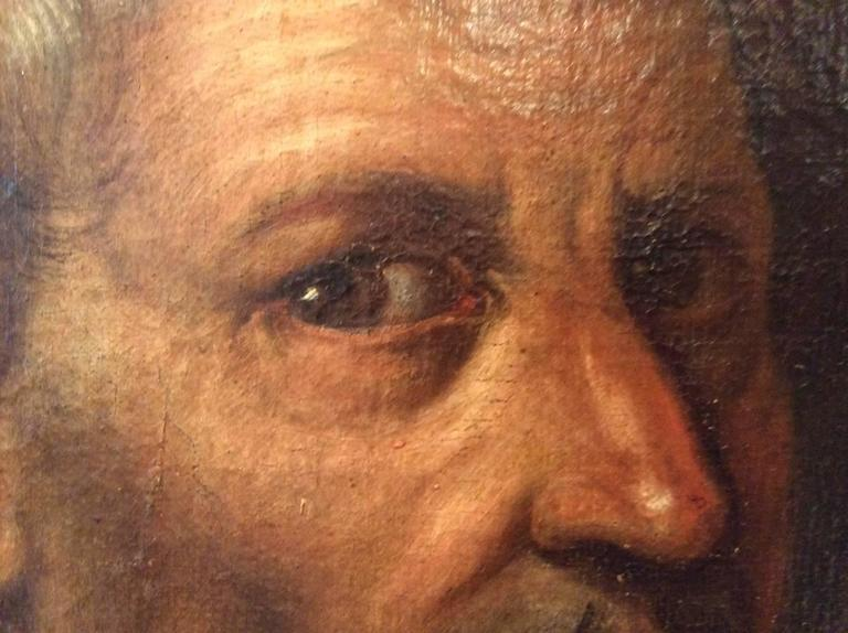 Baroque Early 17th Century Italian School Portrait of a Clergyman, Modern Frame For Sale