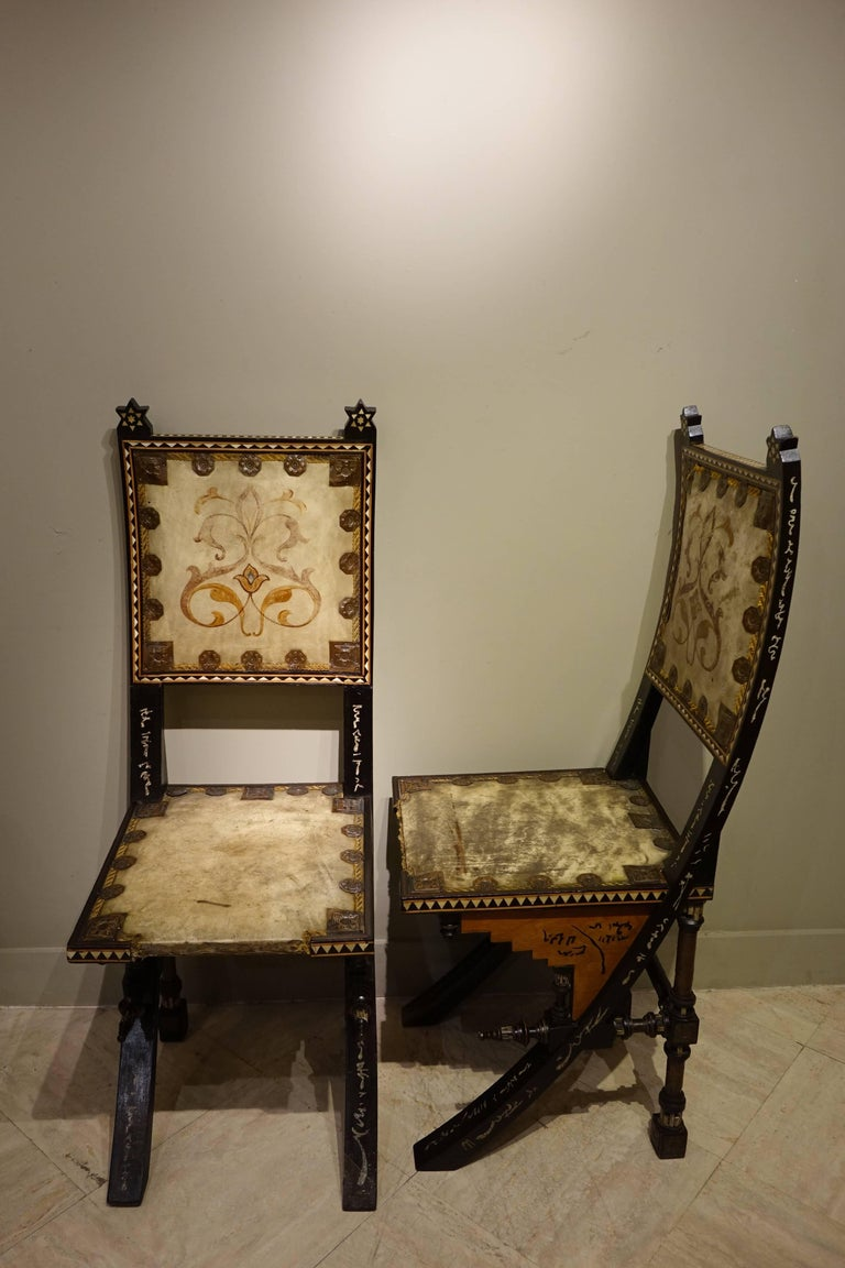 Art Nouveau Pair of Chairs by Carlo Bugatti Italian Designer For Sale