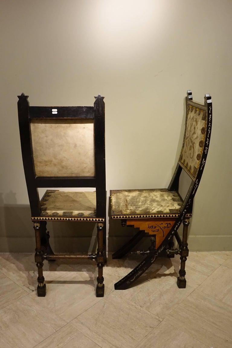 Copper Pair of Chairs by Carlo Bugatti Italian Designer For Sale