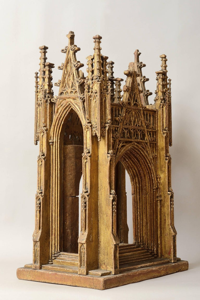 Gilded Wooden Reliquary in the Shape of a Gothic Cathedral, England 15th Century 2