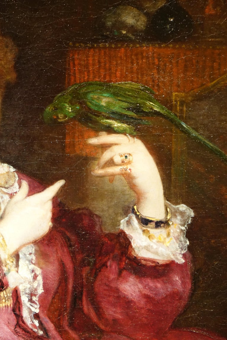 Napoleon III Portrait of a Woman with a Parrot, Painting Signed de Bornschlegel, 19th Century For Sale