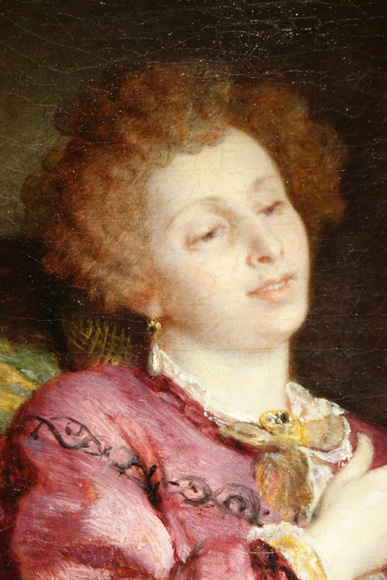 French Portrait of a Woman with a Parrot, Painting Signed de Bornschlegel, 19th Century For Sale
