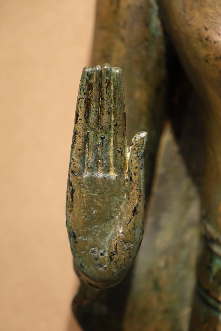 Blackened Ayutthaya Style Standing Bronze Figure of Buddha, Mid-17th Century, Thailand For Sale