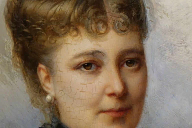 Portrait of Marie De Colbert, Oil on Mahogany Panel Signed Faivre-Duffer, 1882  In Excellent Condition For Sale In Paris, FR