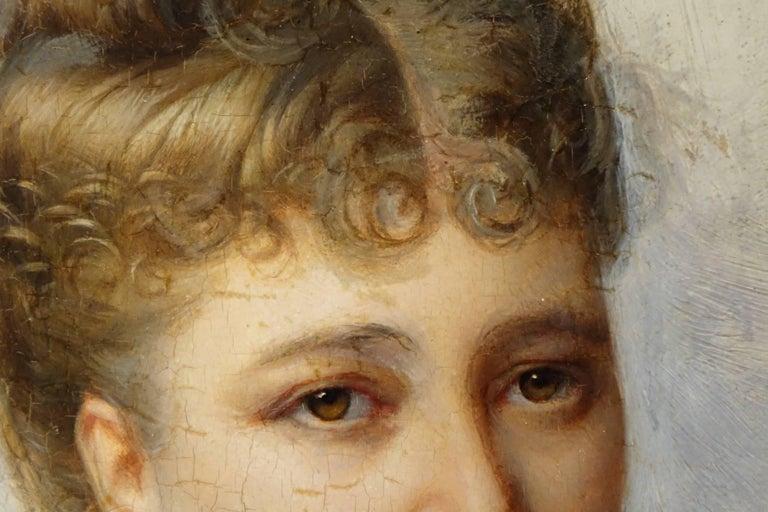 19th Century Portrait of Marie De Colbert, Oil on Mahogany Panel Signed Faivre-Duffer, 1882  For Sale