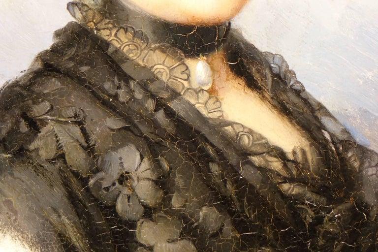 Painted Portrait of Marie De Colbert, Oil on Mahogany Panel Signed Faivre-Duffer, 1882  For Sale