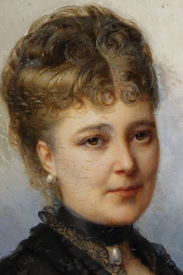 Napoleon III Portrait of Marie De Colbert, Oil on Mahogany Panel Signed Faivre-Duffer, 1882  For Sale