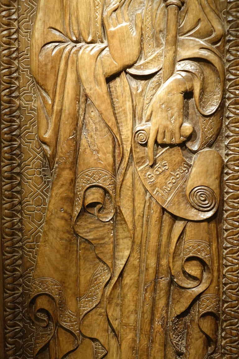 Renaissance  Bas Relief in Walnut Wood Representing Saint James, Venice, circa 1550, Italy  For Sale