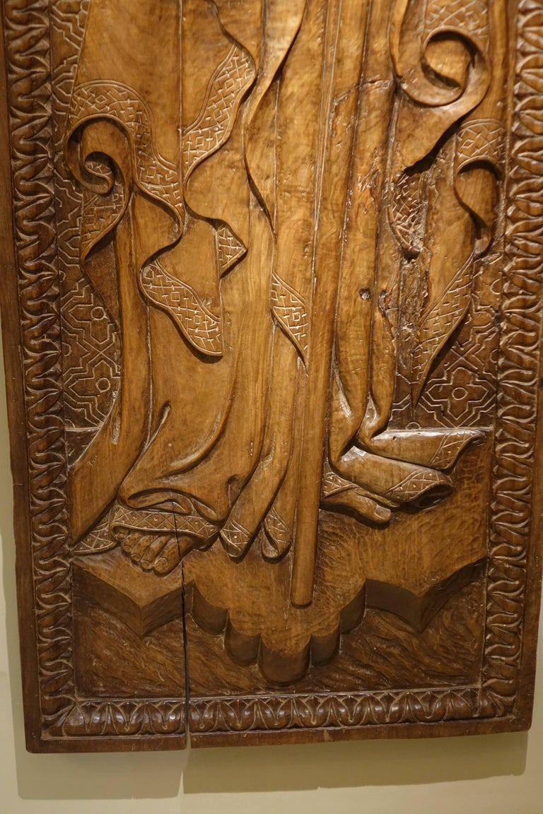 Italian  Bas Relief in Walnut Wood Representing Saint James, Venice, circa 1550, Italy  For Sale