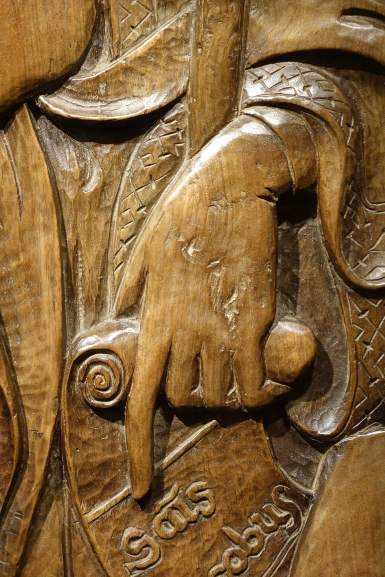 Carved  Bas Relief in Walnut Wood Representing Saint James, Venice, circa 1550, Italy  For Sale