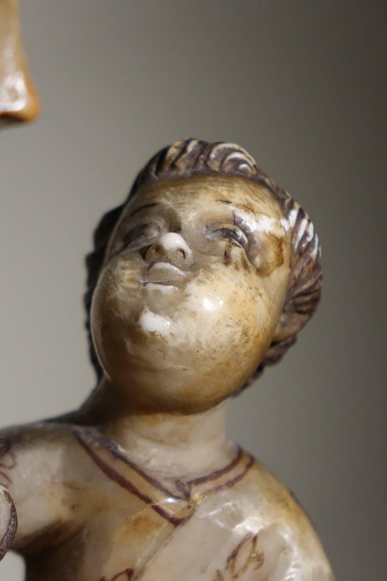 18th Century and Earlier Virgin and Child in Alabaster International Gothic,North of Italy, 16th Century  For Sale