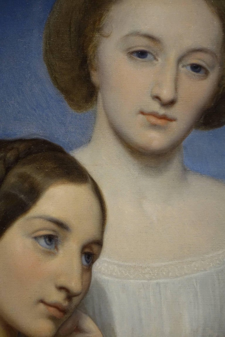 French Painting by Ary Scheffer (1795-1858 ) Portrait of two young girls For Sale