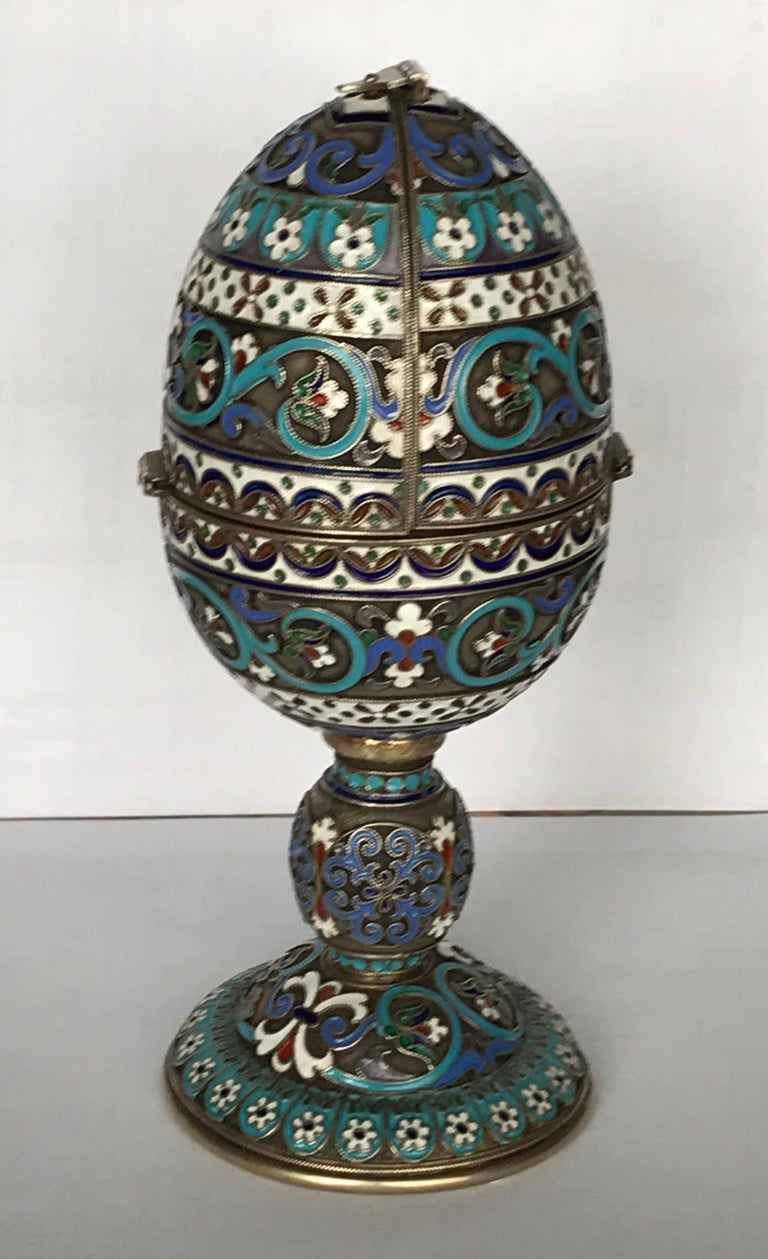 A silver-gilt Cloisonné enamel Easter Egg.