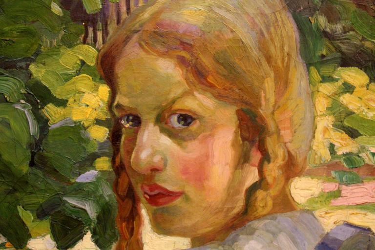 German Portrait of a Girl Sitting in a Summer Garden For Sale