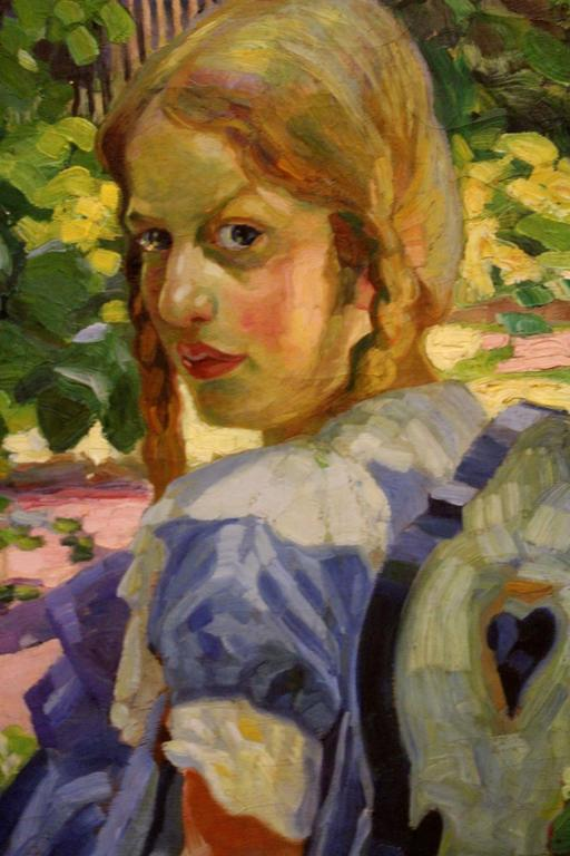 Early 20th Century Portrait of a Girl Sitting in a Summer Garden For Sale