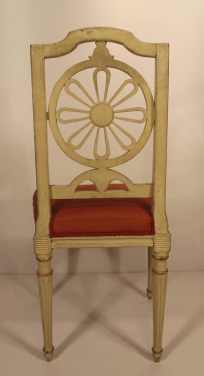 Painted Set of Four Gustavian Chairs For Sale