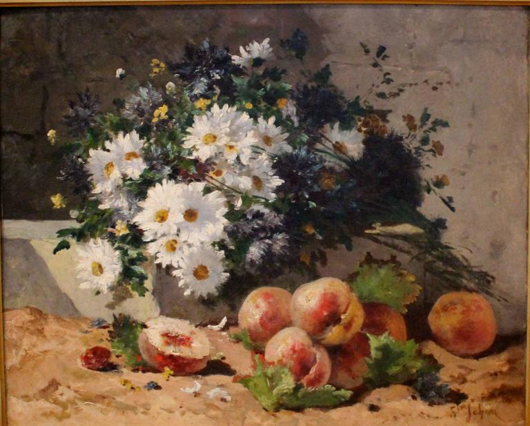 """Beautiful still life with peaches and daisies, painted by a French painter, style of Henri Cauchois (1850-1911), signed """"Ste Jehan."""""""