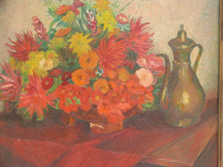 Walter Illner (Leipzig, 1854-1959 Düsseldorf), Still-life with flowers, oil on canvas. (Size with frame: 102 x 98 cm). Signed upper right. The painting will be shipped from Germany, please ask for a shipping quote.