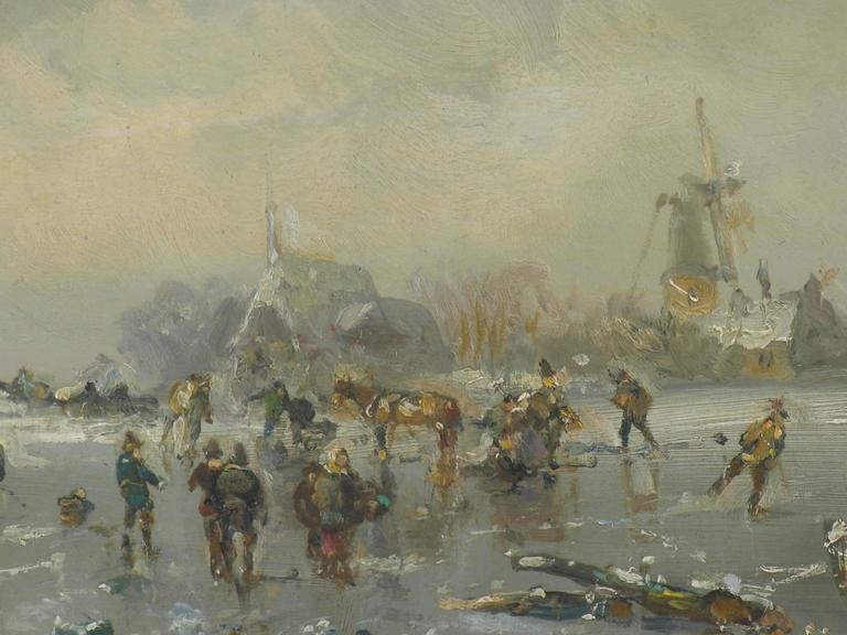 Nostalgic painting of people iceskating on a frozen lake in Bavaria by Adolf Stademann (1824-1895.) Stademann is a very well known German painter of the 19th century. He lived and worked in Munich (Bavaria.) The painting will be send from Germany.