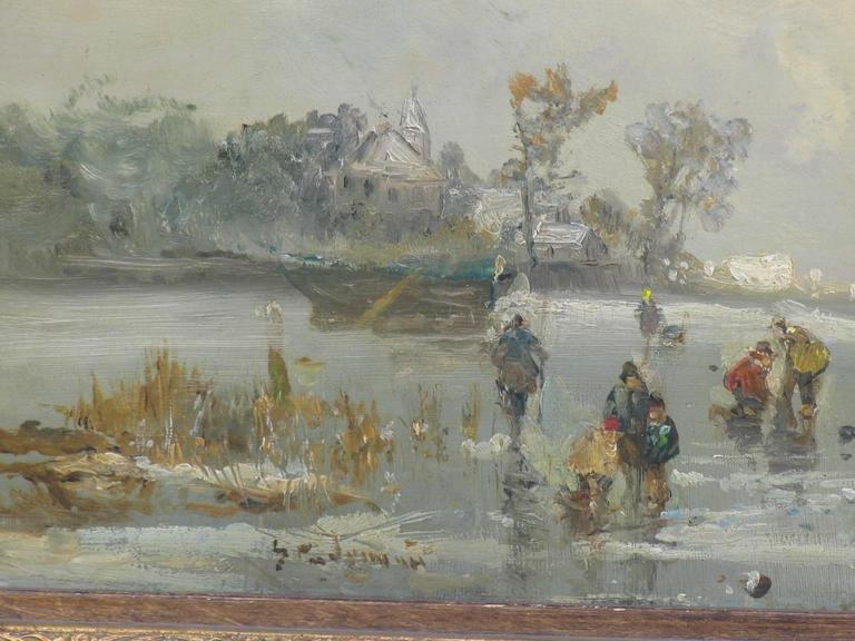 Romantic Painting of Winter Landscape by Adolf Stademann For Sale