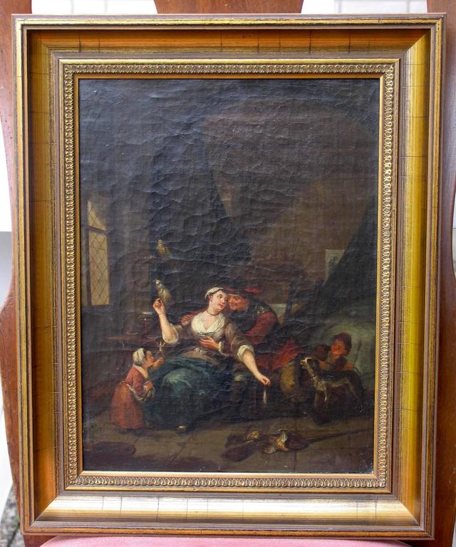 A pair of 18th century interiors by an unknown Flemish artist 18th century.