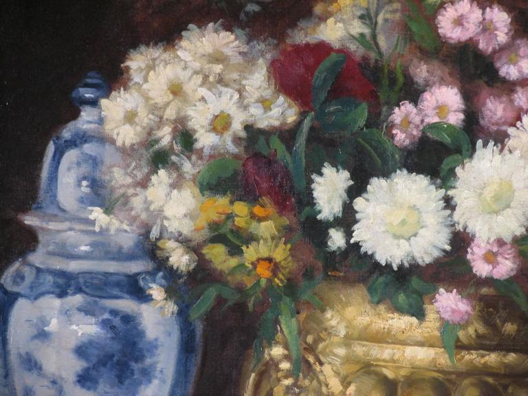 Romantic 19th Century French Flower Still Life For Sale