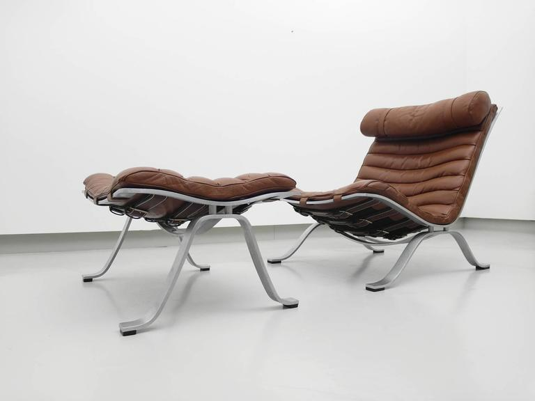 Arne Norell Ari Chair with Ottoman Produced by Arne Norell AB Sweden at 1stdibs