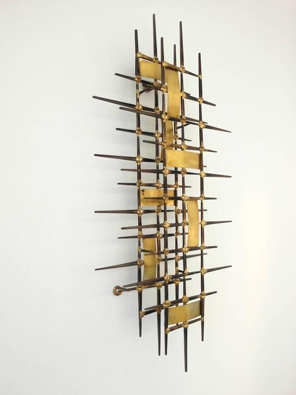 Mid-Century Brutalist Brass Wall Sculpture Attributed to Ron Schmidt ...