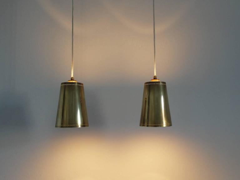 Pair of paavo tynell style scandinavian brass pendant lights at 1stdibs pair of paavo tynell style scandinavian brass pendant lights for sale 1 mozeypictures Image collections
