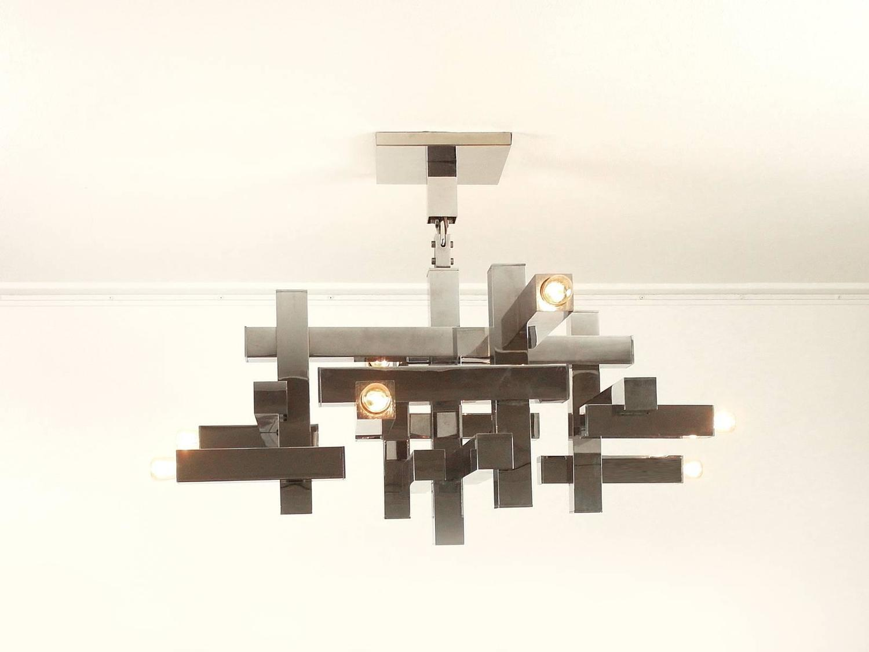 Metric Chandelier By Gaetano Sciolari For Lightolier For Sale At 1stdibs