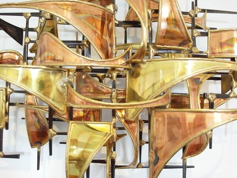 and Brass Brutalist Wall Art Sculpture by Higgins at 1stdibs