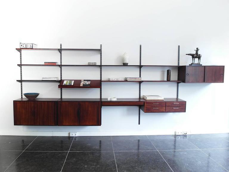 Danish Modern Shelving System In Rosewood Designed By Kai Kristiansen For Fm Mobler Denmark