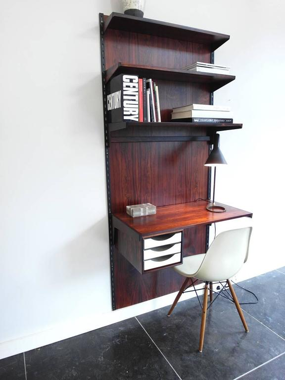 rosewood wallmounted shelving unit with desk by kai kristiansen for fm mbler 2