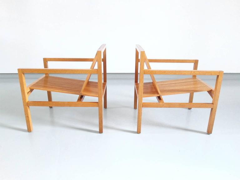 Ruud Jan Kokke Pair of Easy Chairs in Oak and Ash, Holland, 1984 5