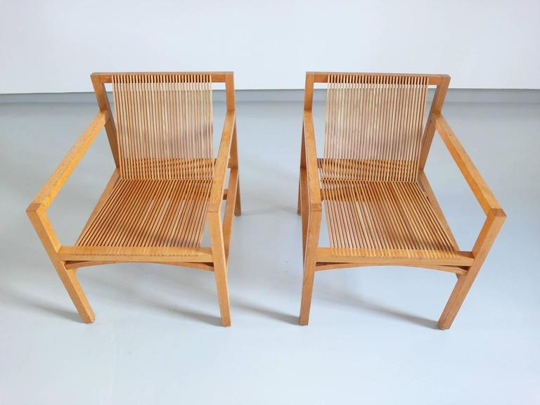 Ruud Jan Kokke Pair of Easy Chairs in Oak and Ash, Holland, 1984 2