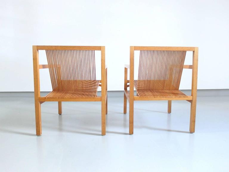 Ruud Jan Kokke Pair of Easy Chairs in Oak and Ash, Holland, 1984 4