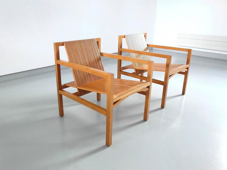 Ruud Jan Kokke Pair of Easy Chairs in Oak and Ash, Holland, 1984 9